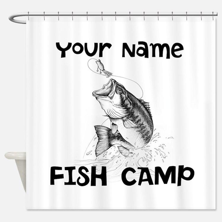 Bass Fishing Shower Curtains Bass Fishing Fabric Shower