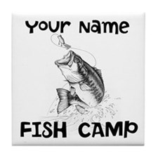 Personlize Fish Camp Tile Coaster