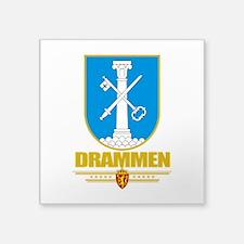 "Drammen (Flag 10).png Square Sticker 3"" x 3"""