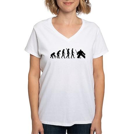 Evolution hockey goalie Women's V-Neck T-Shirt
