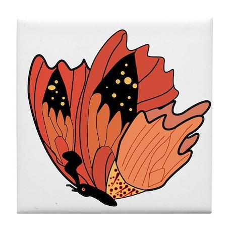 Tangerine Tango Butterfly Tile Coaster