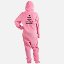 Keep Calm and Get Your WOD On Footed Pajamas