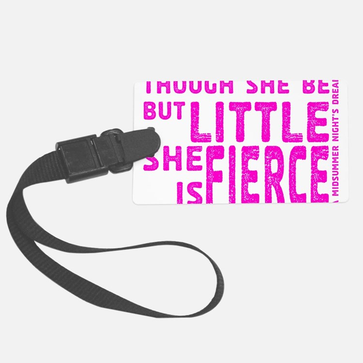 She is Fierce - Stamped Pink Luggage Tag