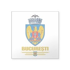 "Bucharest COA (Flag 10).png Square Sticker 3"" x 3"""