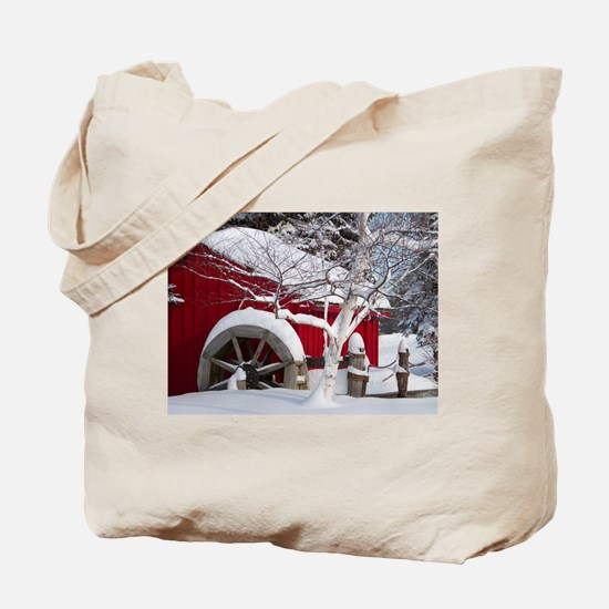 Snow Covered Wheelmill Tote Bag