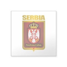 "Serbia Gold.png Square Sticker 3"" x 3"""