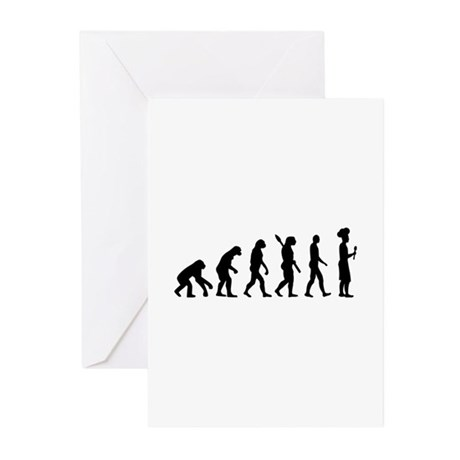 Evolution cook chef Greeting Cards (Pk of 10)