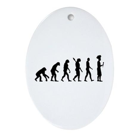 Evolution cook chef Ornament (Oval)