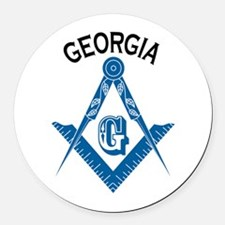 Georgia Freemason Round Car Magnet