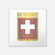 "Swiss Gold.png Square Sticker 3"" x 3"""