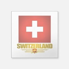 "Switzerland (Flag 10) 2.png Square Sticker 3"" x 3"""
