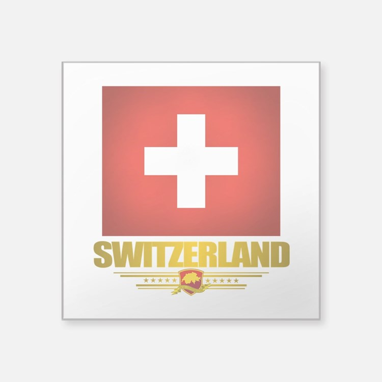 "Switzerland (Flag 10) 2.png Square Sticker 3"" x 3"""
