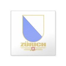 "Zurich (Flag 10).png Square Sticker 3"" x 3"""