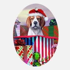 Beagle Claus Christmas Oval Ornament