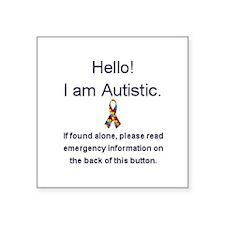 "Emergency Autism Square Sticker 3"" x 3"""