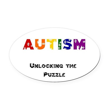 """""""Unlocking the Puzzle"""" Oval Car Magnet"""
