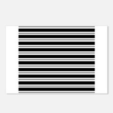 Black Gray Stripes Postcards (Package of 8)
