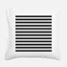 Black Gray Stripes Square Canvas Pillow