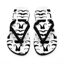 Mustache Print Flip Flops