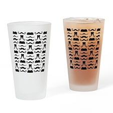 Mustache Print Drinking Glass