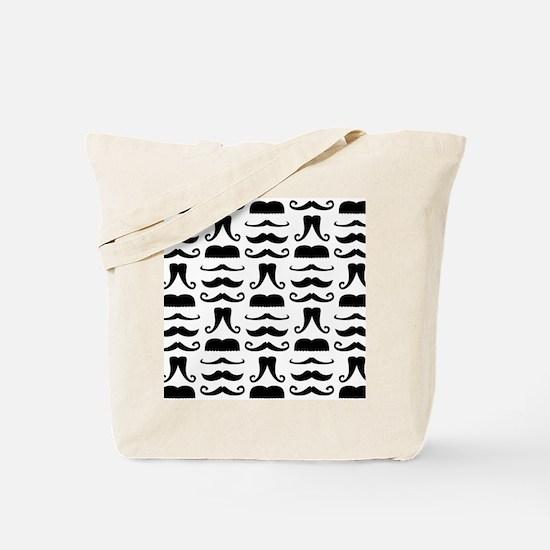 Mustache Print Tote Bag