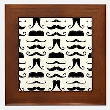Mustache Print Framed Tile