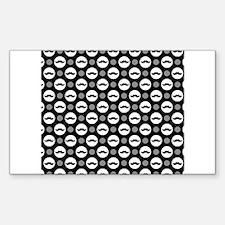 Mustache Polka Dots Sticker (Rectangle)