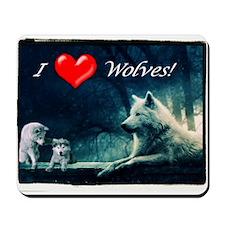 I Love Wolves Mousepad