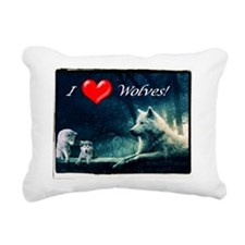 I Love Wolves Rectangular Canvas Pillow