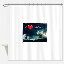 I Love Wolves Shower Curtain