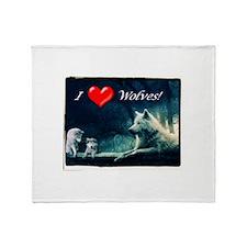 I Love Wolves Throw Blanket