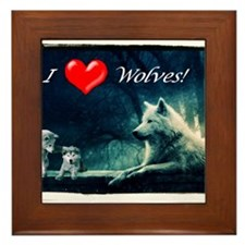 I Love Wolves Framed Tile