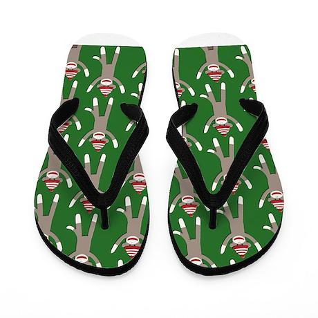 Green Sock Monkey Print Flip Flops
