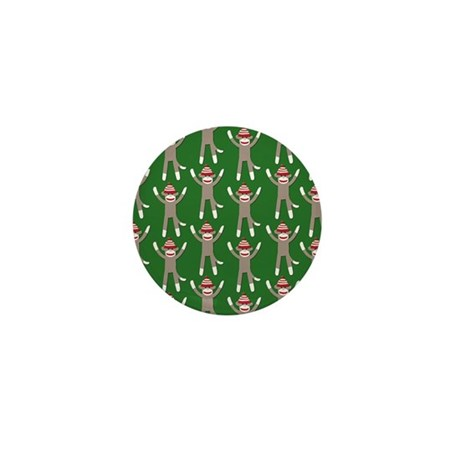 Green Sock Monkey Print Mini Button (10 pack)
