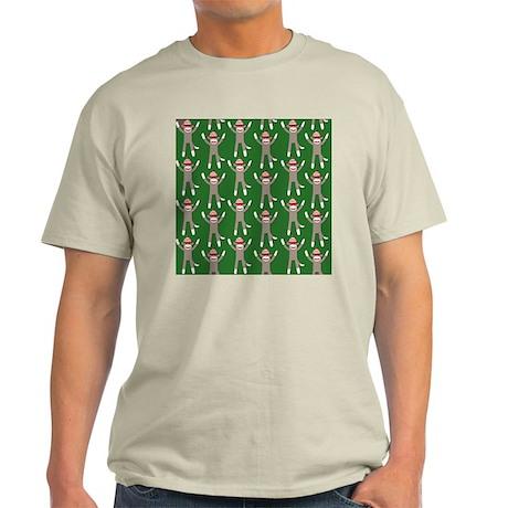 Green Sock Monkey Print Light T-Shirt