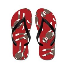 Red Sock Monkey Print Flip Flops