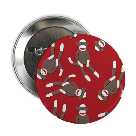 """Red Sock Monkey Print 2.25"""" Button (100 pack)"""