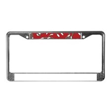 Red Sock Monkey Print License Plate Frame