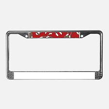 Red Sock Monkey Print License Plate Frame