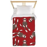 Red sock monkey print tein Twin Duvet Covers