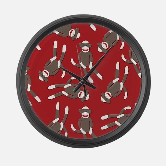 Red Sock Monkey Print Large Wall Clock