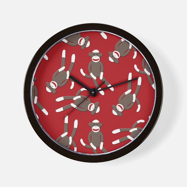 Red Sock Monkey Print Wall Clock