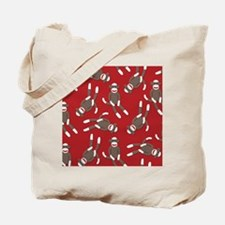 Red Sock Monkey Print Tote Bag