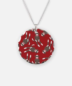 Red Sock Monkey Print Necklace