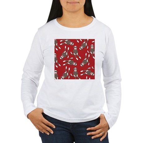Red Sock Monkey Print Women's Long Sleeve T-Shirt