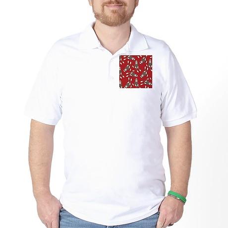 Red Sock Monkey Print Golf Shirt