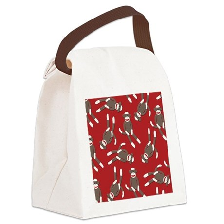 Red Sock Monkey Print Canvas Lunch Bag