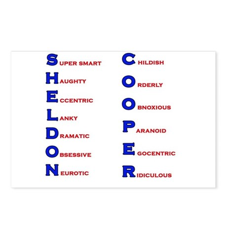 Sheldon Cooper Adjectives Postcards (Package of 8)