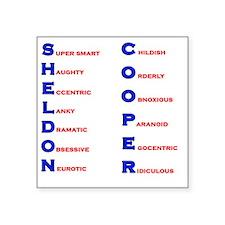 "Sheldon Cooper Adjectives Square Sticker 3"" x 3"""