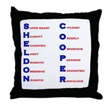 Sheldon Cooper Adjectives Throw Pillow